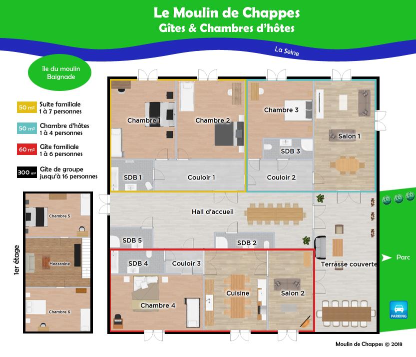 Plan gîte et chambre d'hôtes au Moulin