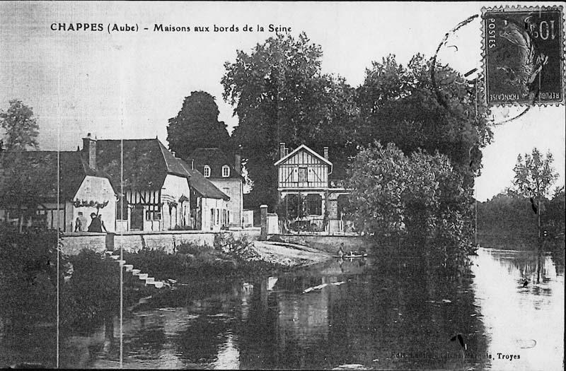 1908 Maisons aux bords de la Seine près de Paris dans l'Aube