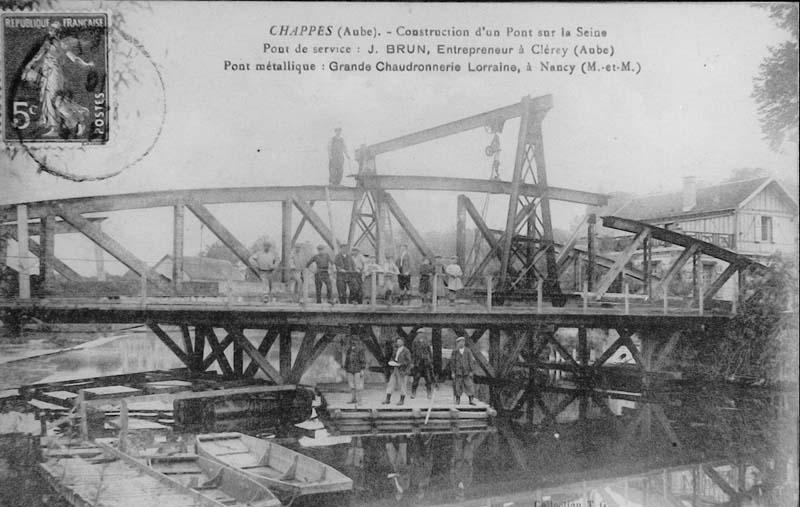 1916 Construction du pont de Chappes dans l'Aube près de Paris
